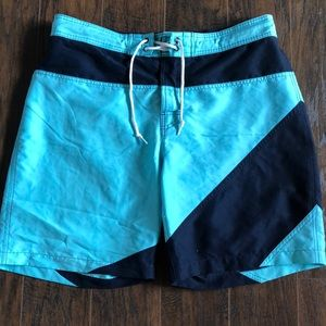 Teal and Navy Swim Trunks